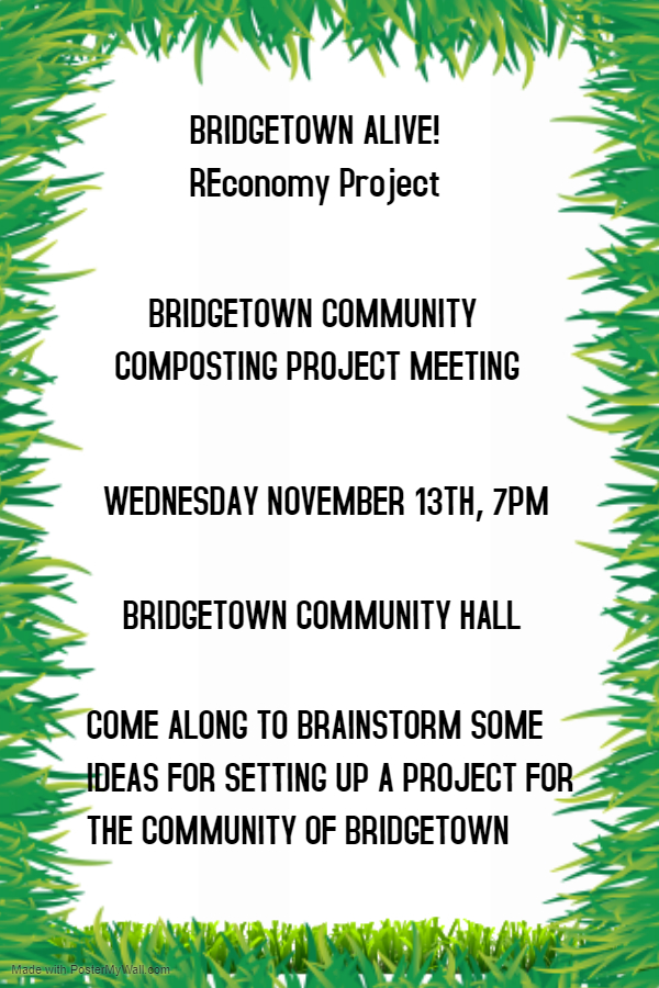 Bridgtown community composting project meeting poster